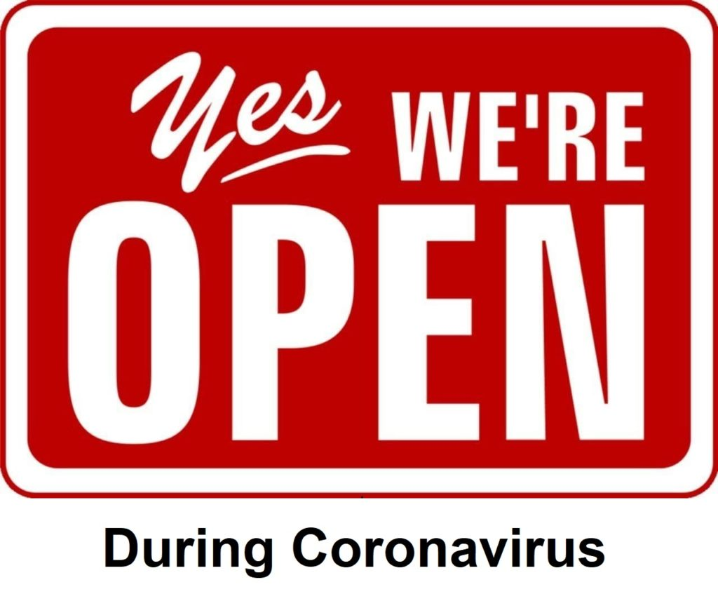 Yes we're open during coronavirus sign
